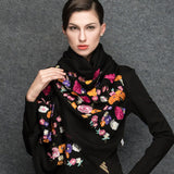 Black Wool Scarf - Lightweight Wool Embroidery Scarf - Black Wool Embroidery Scarf  - WS3