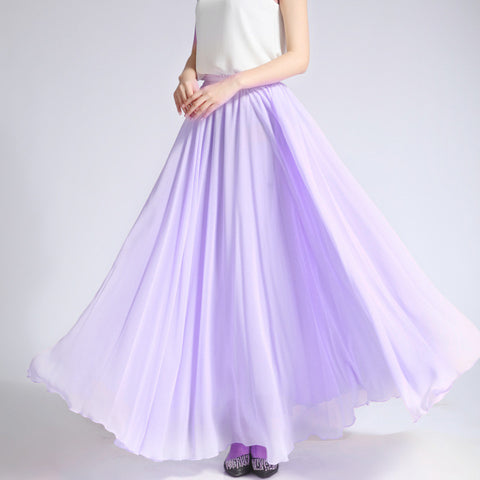 Pale Violet Chiffon Maxi Skirt with Extra Wide Hem - Long Thistle Chiffon Skirt - SK5l
