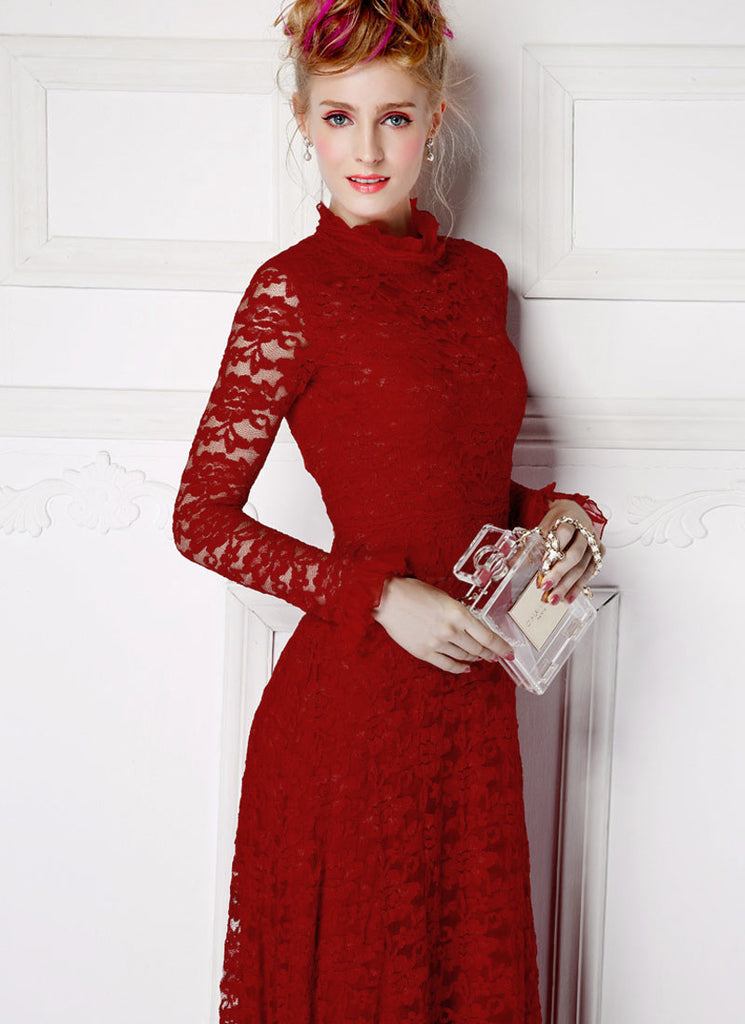 cbc3a644304 Long Sleeved Maroon Lace Maxi Dress with Ruffled Neck and Cuff RM359 ...