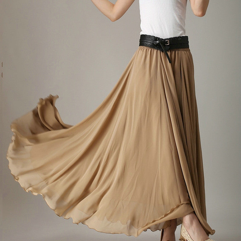 Dark Golden Rod Chiffon Maxi Skirt with Extra Wide Hem