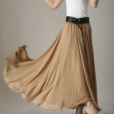 Dark Golden Rod Chiffon Maxi Skirt with Extra Wide Hem - Long Tan Chiffon Skirt - SK2j