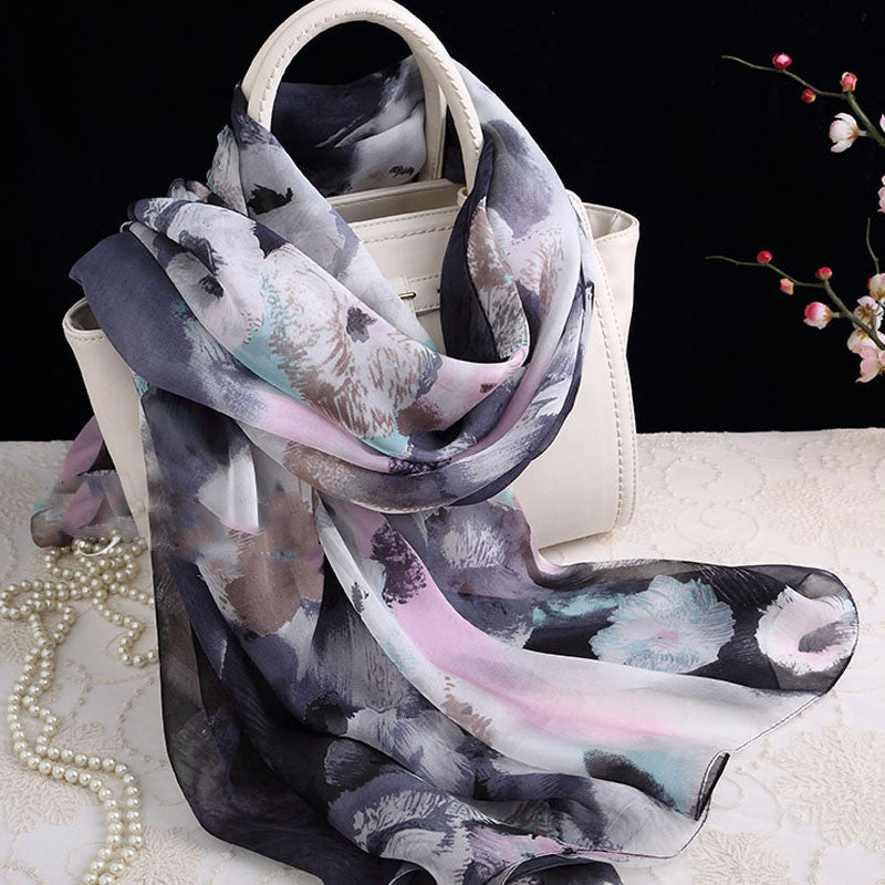 Floral Printed Silk Chiffon Scarf - Water and Ink painting Silk scarf -  Floral Printed Silk Georgette Scarf Shaw - 2017-12