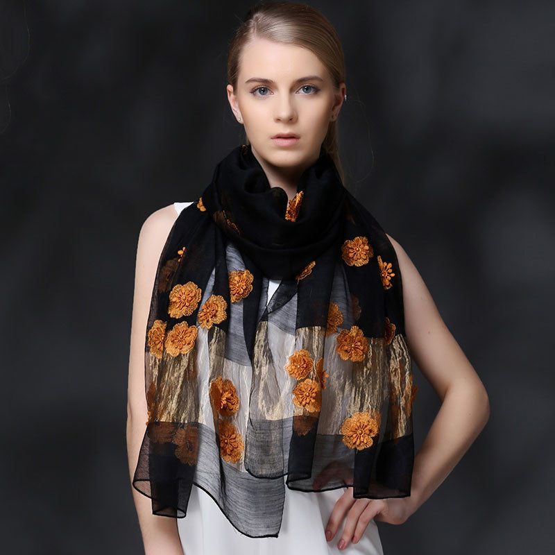BLACK FLORAL EMBROIDERED MULBERRY SILK SCARF - HANDMADE FLORAL EMBROIDERED SILK SCARF - FLORAL SILK SCARF -2016K1