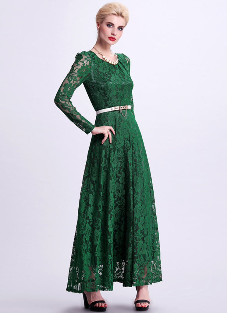 Emerald Green Lace Maxi Dress with Long Sleeves RM340 – RobePlus
