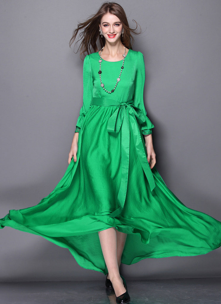 Open Back Long Sleeved Green Maxi Dress with Sash