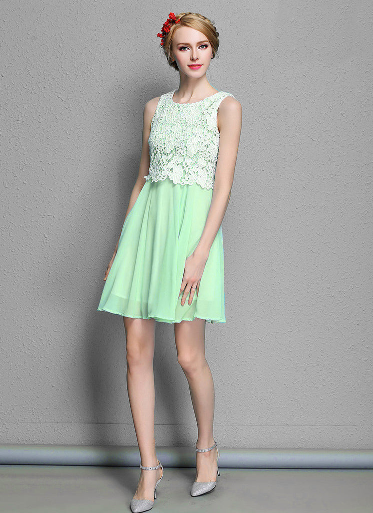 White Lace Mini Dress with Light Green Skirt Fit and Flare Dress