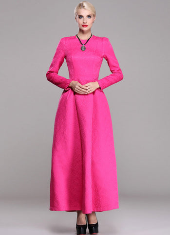 Long Sleeve Fuchsia Jacquard Maxi Dress RM370