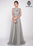 Grey Floor Length Floral Embroidery Bodice Evening Gown with Rhinestone Embellishment