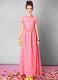Light Coral Embroidered Organza Lace Maxi Dress
