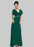 Empire Waisted Emerald Green Maxi Dress with Flutter Sleeves