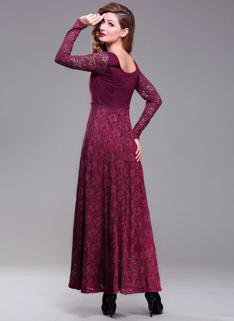14c440d83d85 Long Sleeve Maroon Lace Maxi Dress with Scoop Back RM396 – RobePlus
