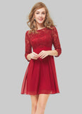 3 Quarter Sleeved Red Lace Chiffon Mini Dress RD419