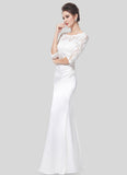 White Lace Satin Maxi Dress with V Back