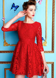 Elbow Sleeved Red Lace Fit and Flare Dress Mini Length