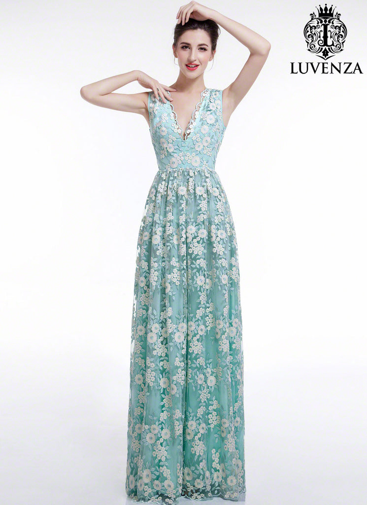 Aquamarine White Floral Embroidery Maxi Length Wedding Dress With V