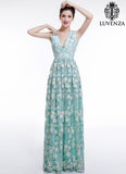 Aquamarine White Floral Embroidery Maxi Length Wedding Dress with V Neck Sheer Back