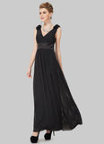 V Back Pleated Black Evening Dress with 3D Chiffon Floral Embellishment