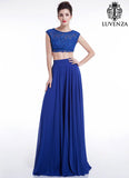Blue Lace and Chiffon Separates Evening Gown / Two Piece Cap Sleeves Prom Dress with Wide Skirt Hem Dancing Dress