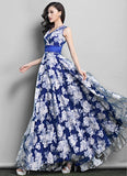 Dark Blue Floral Organza Maxi Dress with Pleated Waist and Faux Surplice Bodice