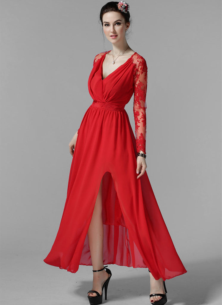 Long Sleeved Red Lace Chiffon Maxi Dress with V Neck and Faux Surplice Bodice