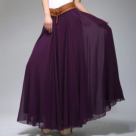 Indigo Chiffon Maxi Skirt with Extra Wide Hem - Long Purple Chiffon Skirt - SK2f