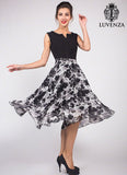 Black Ink Paint Style Floral Mini Dress with Pleated Top and Vented Neck