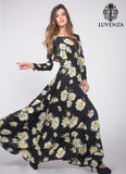 Long Sleeve Black Daisy Print Maxi Dress with Long Flowing Skirt