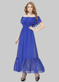 Off-Shoulder Sapphire Blue Maxi Dress with Layered Top