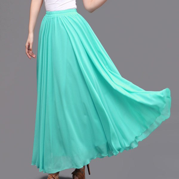 Turquoise Chiffon Maxi Skirt With Extra Wide Hem
