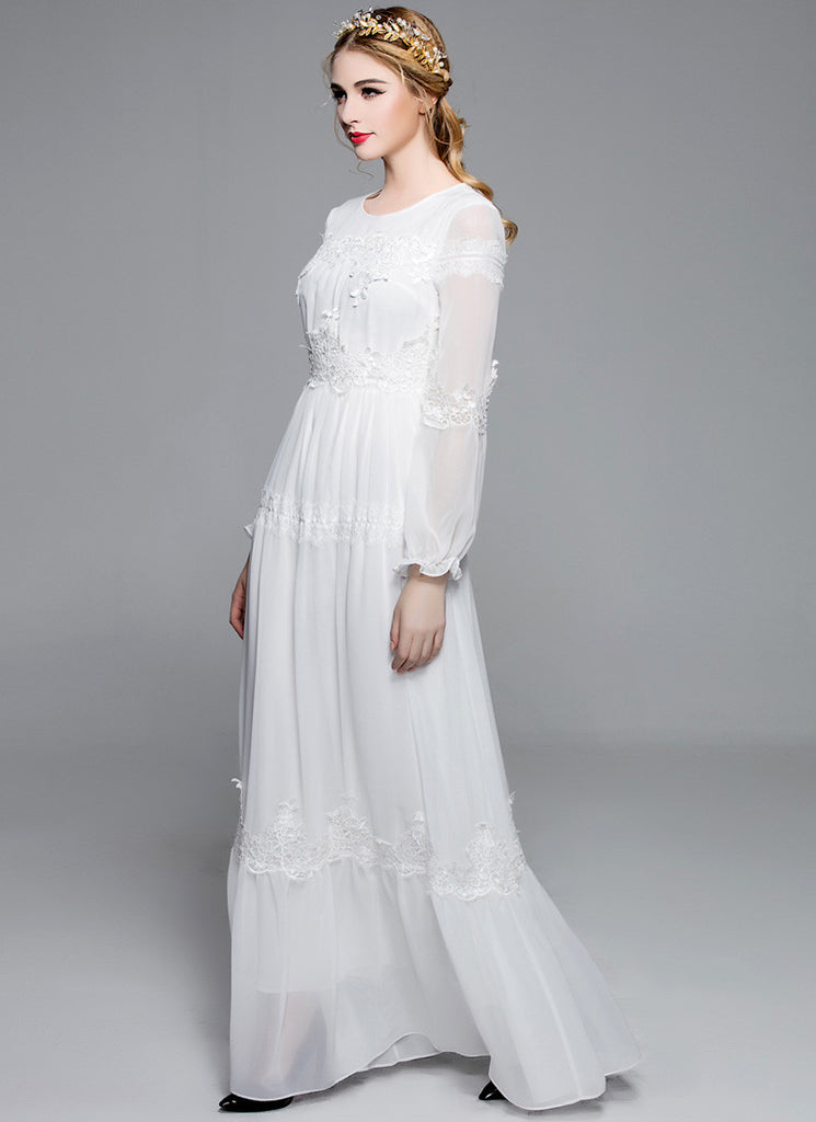 e206845cfb Long Sleeved White Chiffon Maxi Dress with Lace Details MX6