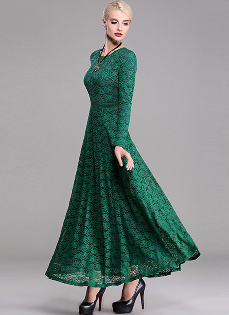 Long Sleeve Dark Green Lace Maxi Dress with Contrast ...