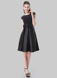 Black Chiffon Satin Fit and Flare Mini Dress with Bow Embellishment