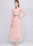 Faux Surplice Nude Pink Maxi Dress