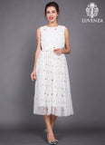 White Embroidered Floral Tulle Lace Midi Dress with Pleated Top