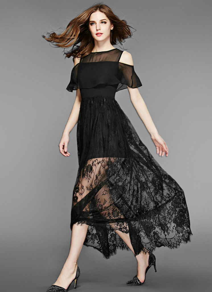 d6cf9a94a75 Off-Shoulder Black Lace Chiffon Maxi Dress with Scalloped Hem and Eyelash  Finishes