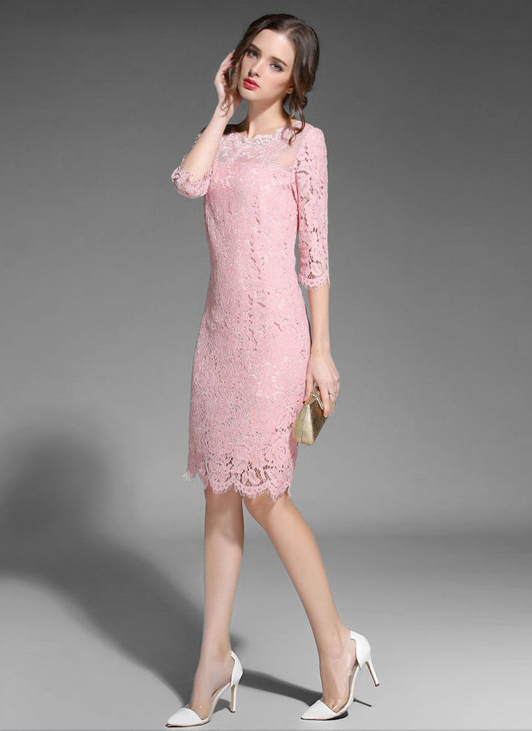 Light pink long lace dress