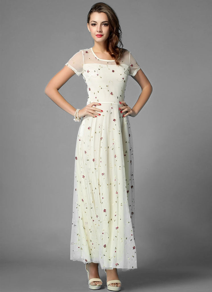 39fcd3408d9 Floral Embroidered Ivory Lace Maxi Dress RM274 – RobePlus
