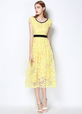 V Back Yellow Organza Lace Midi Dress (Tea Dress) with Black Piping RM569