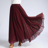 Brown Red Chiffon Maxi Skirt with Extra Wide Hem