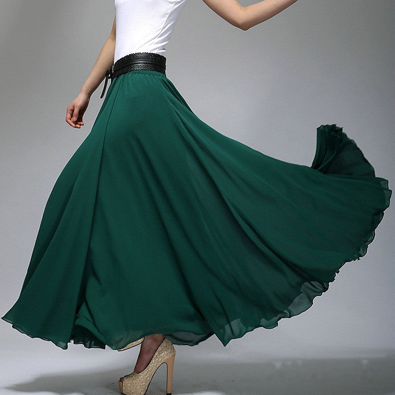 8bda40c4d3257 Dark Teal Chiffon Maxi Skirt with Extra Wide Hem - Long Teal Chiffon ...