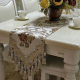 Retro Style Table Runner with Crochet Edge and Fringes TR7B