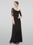 Bateau Neck Black Lace Top Evening Gown
