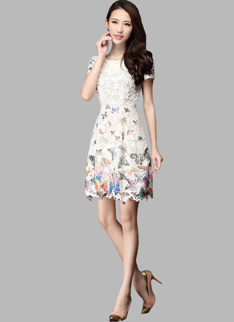 White Lace Mini Dress with Butterfly Print on Skirt