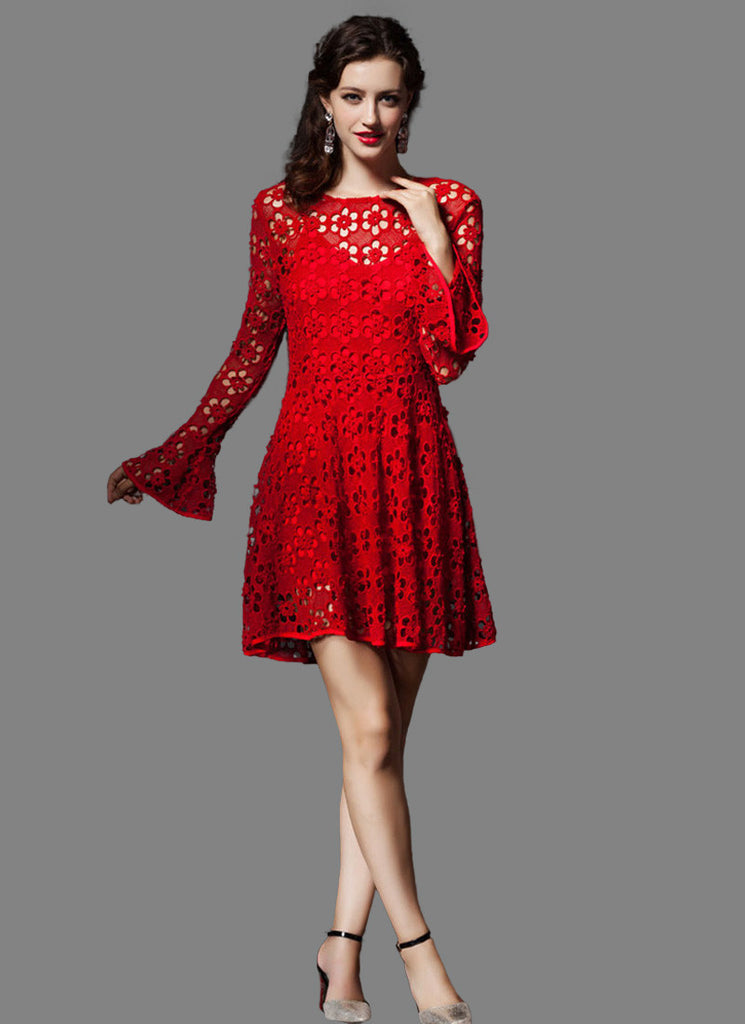 Open Back Red Lace Mini Dress with Trumpet Sleeves