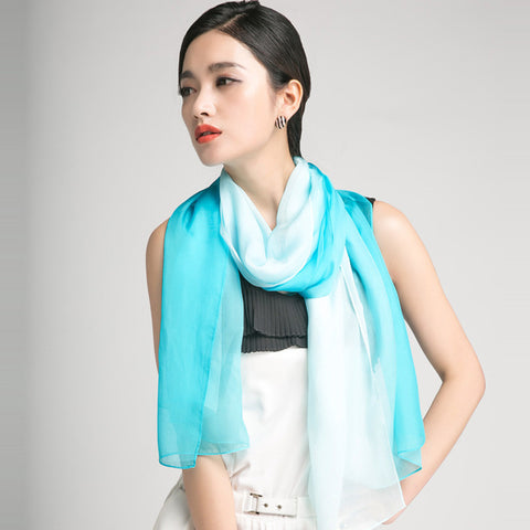 Gradient Color Mulberry Silk Scarf - Aqua Silk Chiffon Scarf - Light Cyan Silk Scarf - GS1-2