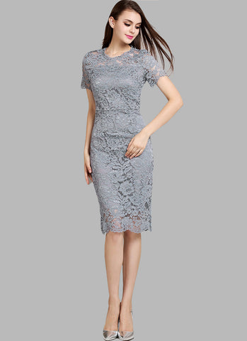 Medium Gray (Grey) Lace Mini Sheath Dress with Bow Embellished Back RD548