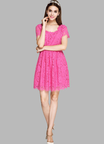 Deep Pink Lace Fit and Flare Mini Dress with Square Neck and Back RD549