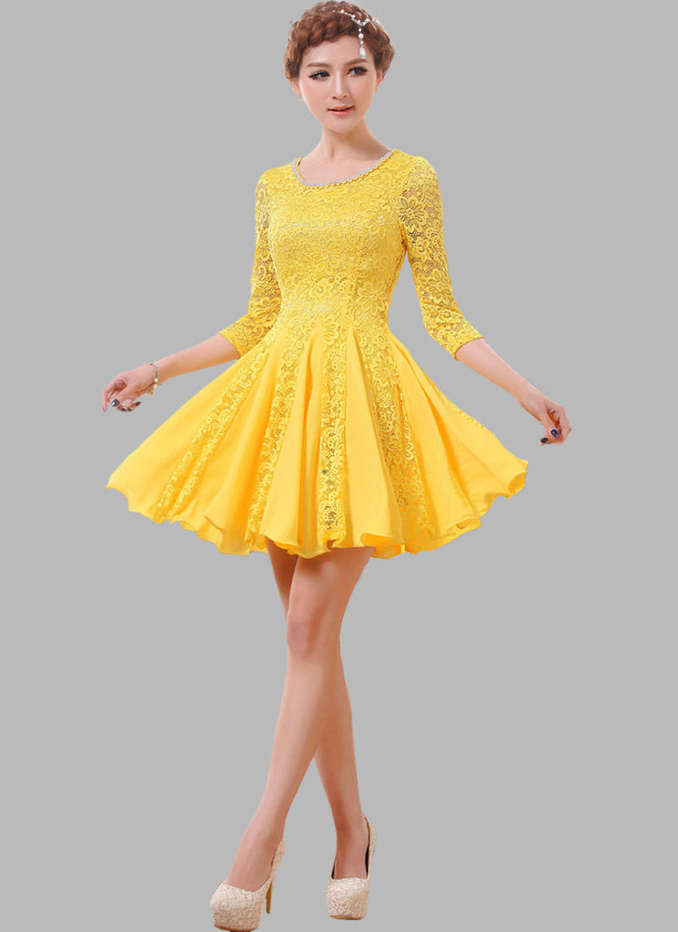 Yellow Lace Fit and Flare Mini Dress with Beaded Neckline