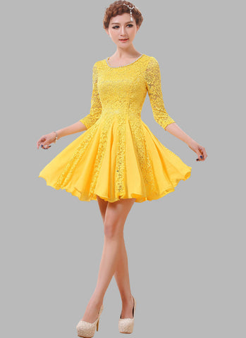 Yellow Lace Fit and Flare Mini Dress with Beaded Neckline RD307