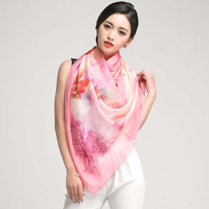 Coral Pink Silk Chiffon Scarf with Oriental Lotus Print - Large Silk Georgette Scarf Shaw PS3-2